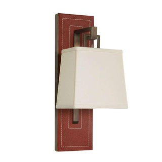 Paul Marra Leather Back Sconce with Tapered Linen Shade For Sale