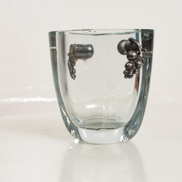 1940s Beautiful Strombergshyttan Thick Glass Vase With Silver Grapevine Accents For Sale - Image 5 of 10