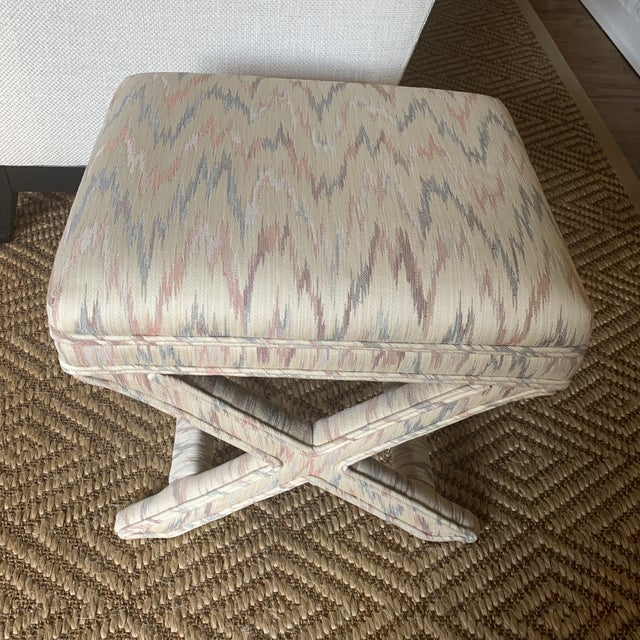Mid-Century Modern Vintage Weiman Upholstered X Bench For Sale - Image 3 of 13