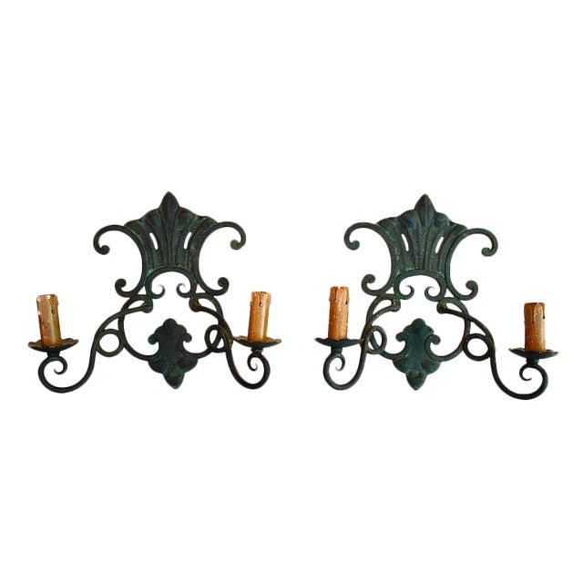 French Wrought Iron Sconces - a Pair For Sale