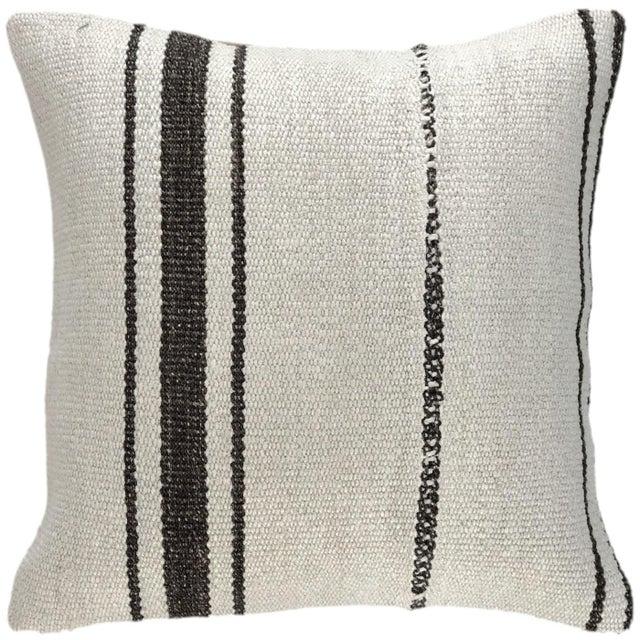"Mid-Century Modern Organic Hemp Kilim Pillow | 16"" For Sale - Image 3 of 3"