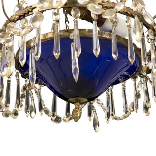 Gustavian Chandelier 1900's With Blue Bowl Preview