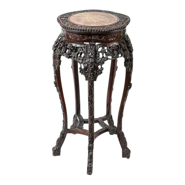 Antique Chinese Rosewood Pedestal or Stand With Marble Top, Qing Dynasty For Sale