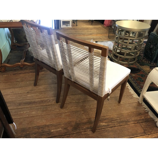 Organic Modern Pair of Raffia Rope & Teak Side Chairs -A Pair For Sale - Image 12 of 13
