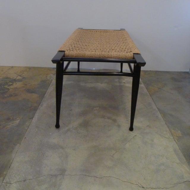 Mid-Century Modern Danish Woven Rush Bench For Sale - Image 4 of 6