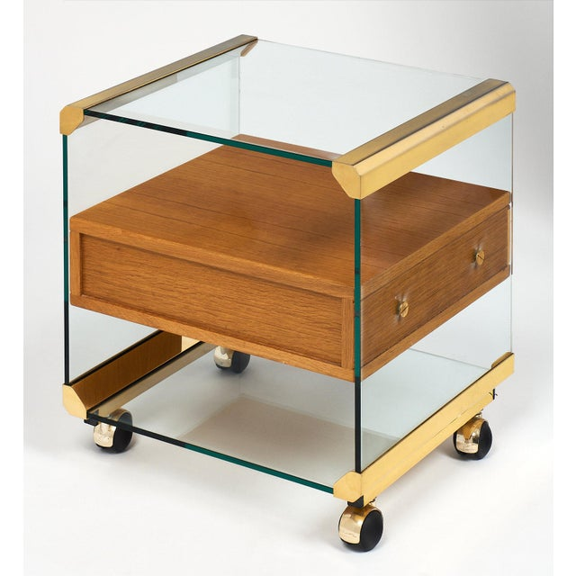 Glass Brass and Glass Modernist Side Table For Sale - Image 7 of 10