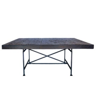 Custom Industrial Style Reclaimed Wood Square Dining Table With Iron Base For Sale