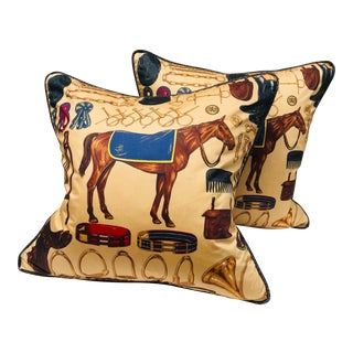 Ralph Lauren Equestrian Cotton Print Pillows - a Pair For Sale
