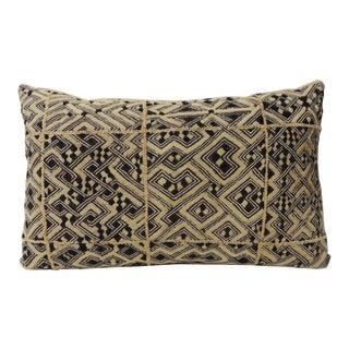 """Large Vintage African """"Shoowa"""" Raffia Velvet Bolster Decorative Pillow For Sale"""