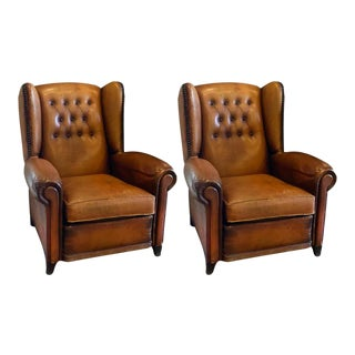 Club Chairs in Cognac Leather, France, 1930s - a Pair For Sale