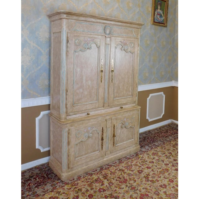 Country French Baker Furniture Paint Decorated Armoire Bar Cabinet For Sale - Image 7 of 9