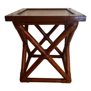 Vintage Mid-Century Palecek Bamboo Accent Table For Sale