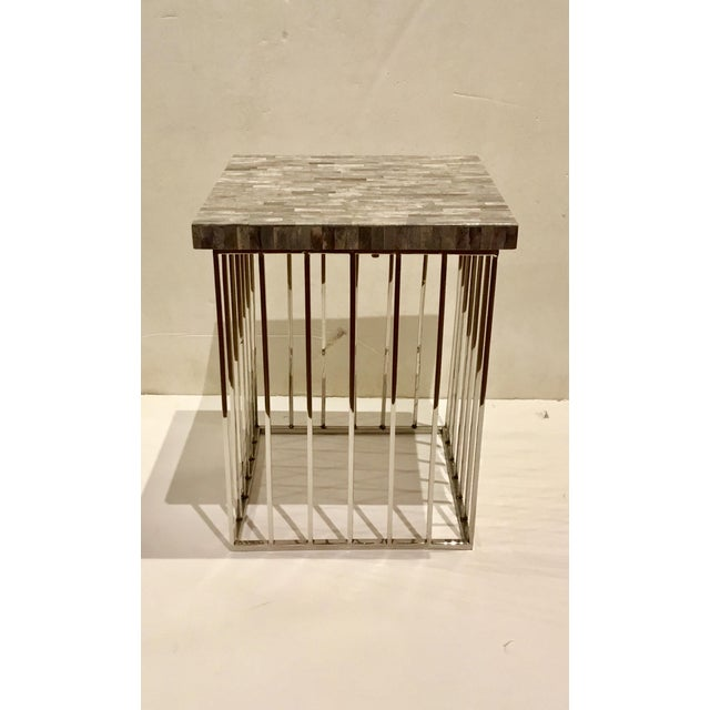Modern Regina Andrews Gray Bone and Chrome Square Accent Table For Sale In Atlanta - Image 6 of 6