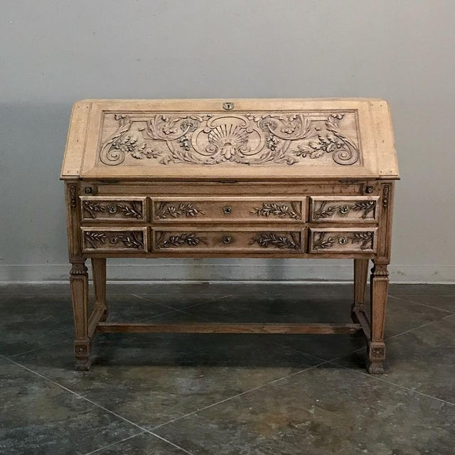 19th Century French Louis XIV Stripped Oak Secretary For Sale - Image 4 of 11