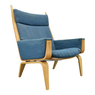 Hans Wegner Ge 501a Highback Lounge Chair in Oak #1 For Sale