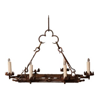 Early 20th Century French Iron Six-Light Flat Bottom Island Chandelier For Sale