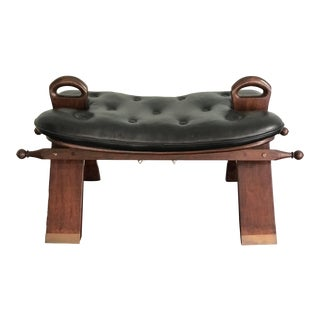 1940s Mid-Century Modern Carved Rosewood and Leather Camel Saddle Bench For Sale