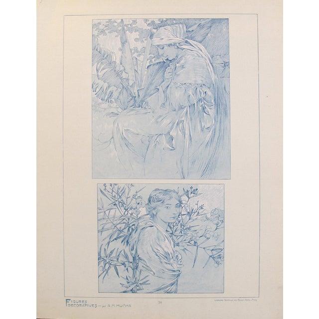 1900s 1902 Original Vintage French Art Nouveau Illustration - Figures Decoratives - A. Mucha For Sale - Image 5 of 5