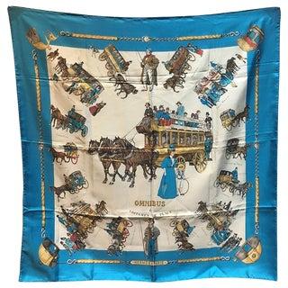 Hermes Vintage Omnibus Et Voitures De Place Silk Scarf in Blue C1960s For Sale