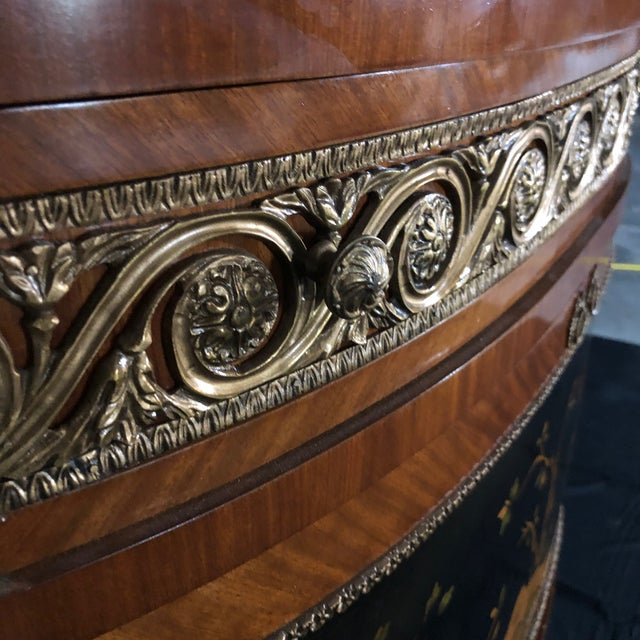 French Louis XV Style Inlaid Demilune Buffet Cabinet Credenza For Sale - Image 10 of 13