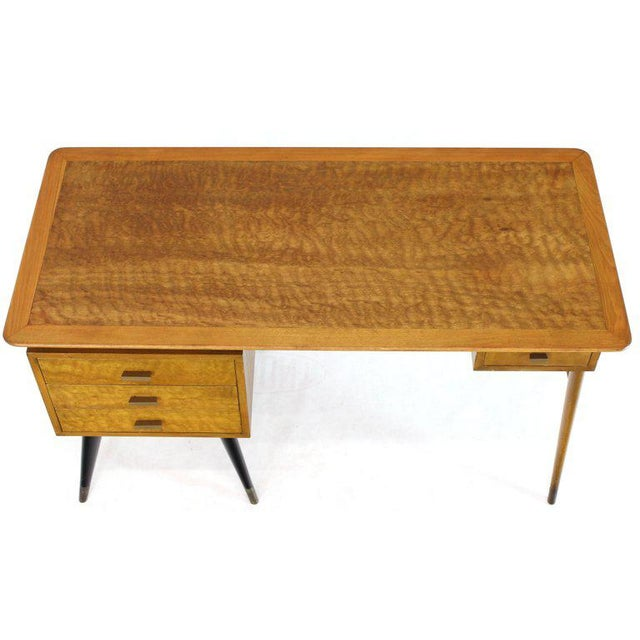 1960s Italian Birch Tiger Maple Exposed Sculptural Legs One Pedestal 4 Drawers Desk For Sale - Image 5 of 13