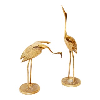 Vintage Solid Brass Herons/ Egrets - a Pair