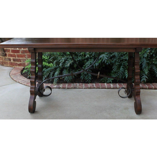 Red Antique French Spanish Walnut Mission Catalan Dining Table Sofa Table For Sale - Image 8 of 13