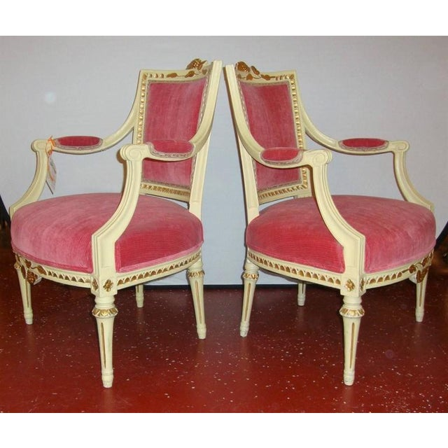 1950s Pair of Carved Fauteuils by Gustavian Side Chairs by Maison Jansen For Sale - Image 5 of 11