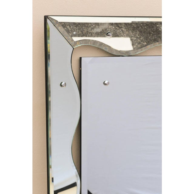 1950s 1950s Hollywood Regency Monumental Scalloped Horizontal Mirror Final Markdown For Sale - Image 5 of 9