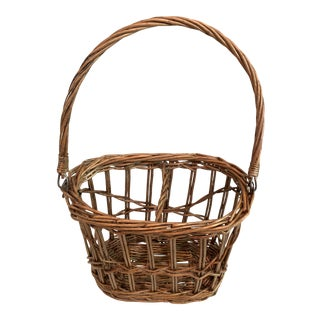 Vintage French Wicker 2 Bottle Carrier With Handle For Sale