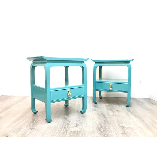 Kent Coffey Turquoise Lacquered End Tables - A Pair For Sale - Image 10 of 12
