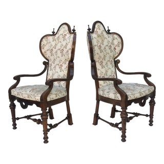Pair Vintage High Back Armchairs For Sale