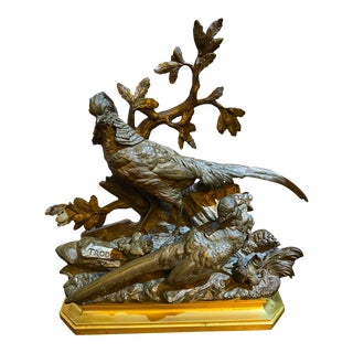 French 19th Century Bronze Trodoux Signed Male and Female Golden Peasants with Chicks Sculpture For Sale