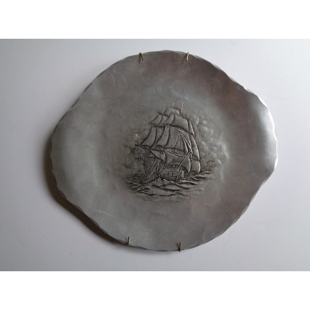 Mid 20th Century Vintage Wendell August Forge Hammered Nautical Ship Tray For Sale - Image 5 of 5