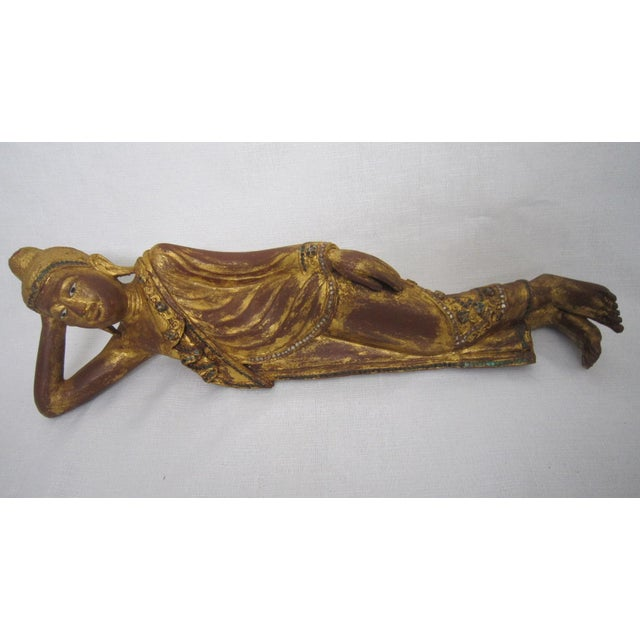 Thai Reclining Wood Figure - Image 3 of 5