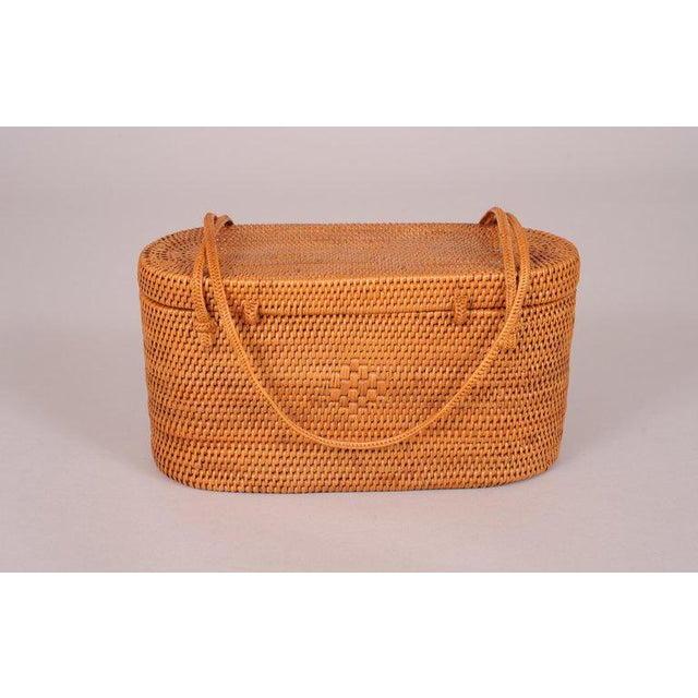 1950's Woven Straw Box Bag For Sale - Image 4 of 7