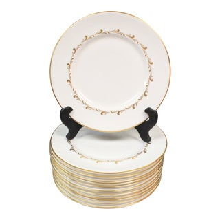 Vintage Royal Doulton Gold Accented Plates - Set of 12 For Sale