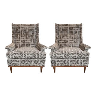 Midcentury Button Back Walnut Armchairs in Holly Hunt Great Plains Fabric - a Pair For Sale