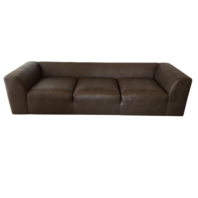 Mourra Starr Sofa, Brown Faux Leather - Image 1 of 7