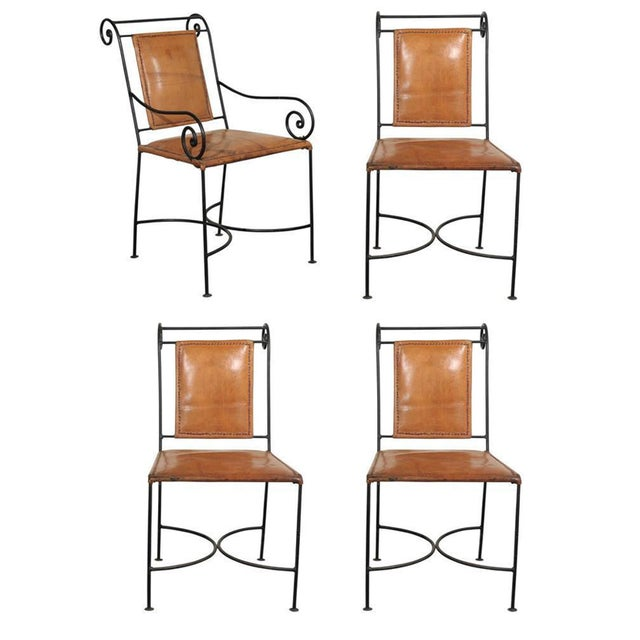 Iron and Leather Dining Chairs - Set of 4 - Image 1 of 5
