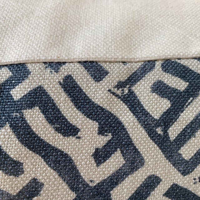 Zak & Fox Basilica Blue and Natural Linen Pillow For Sale - Image 4 of 7