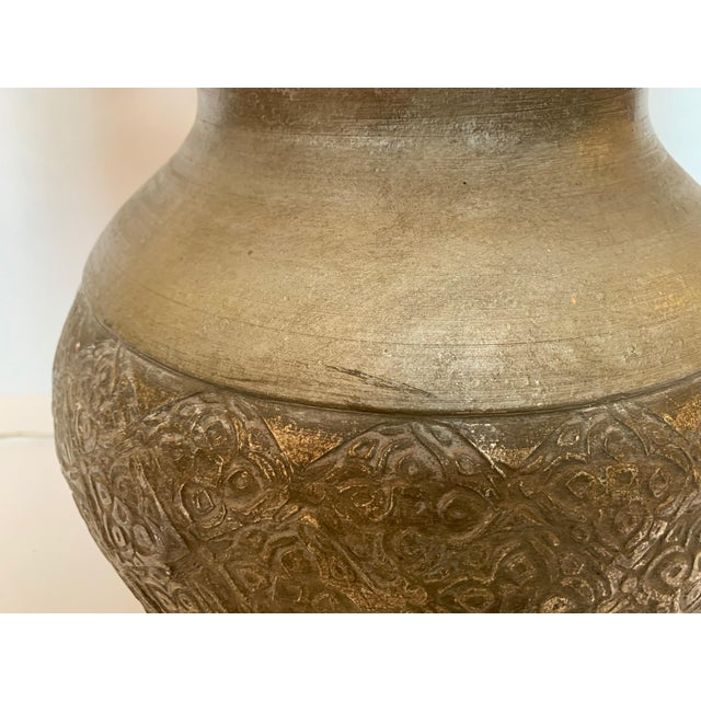 Embossed Metal Round Table Lamp For Sale - Image 4 of 13