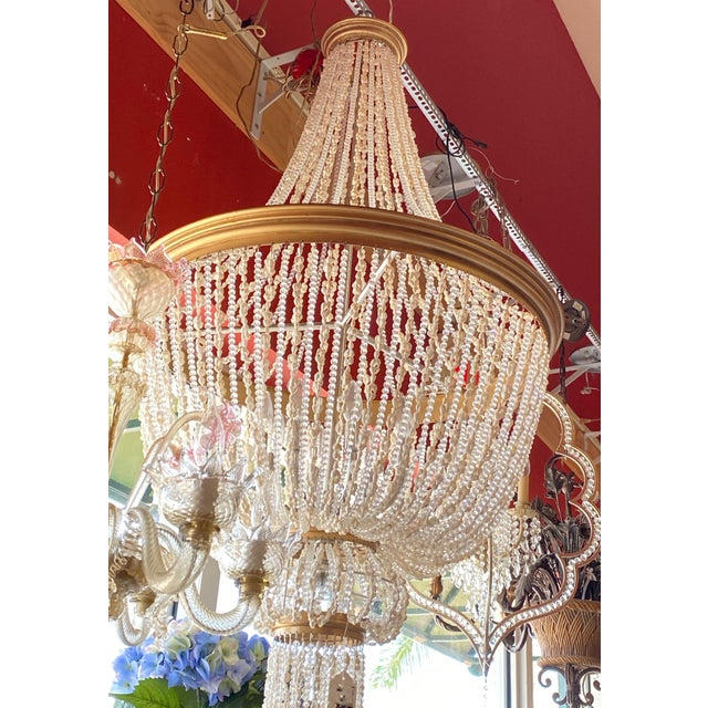 """French 64"""" Crystals and Shells 9 Light Coastal Chandelier For Sale - Image 4 of 13"""
