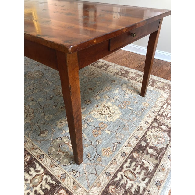Wood Wright Table Company Classic Distressed Hard Wood Farm Table For Sale - Image 7 of 13
