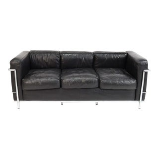 Le Corbusier LC2 Black Leather Sofa For Sale