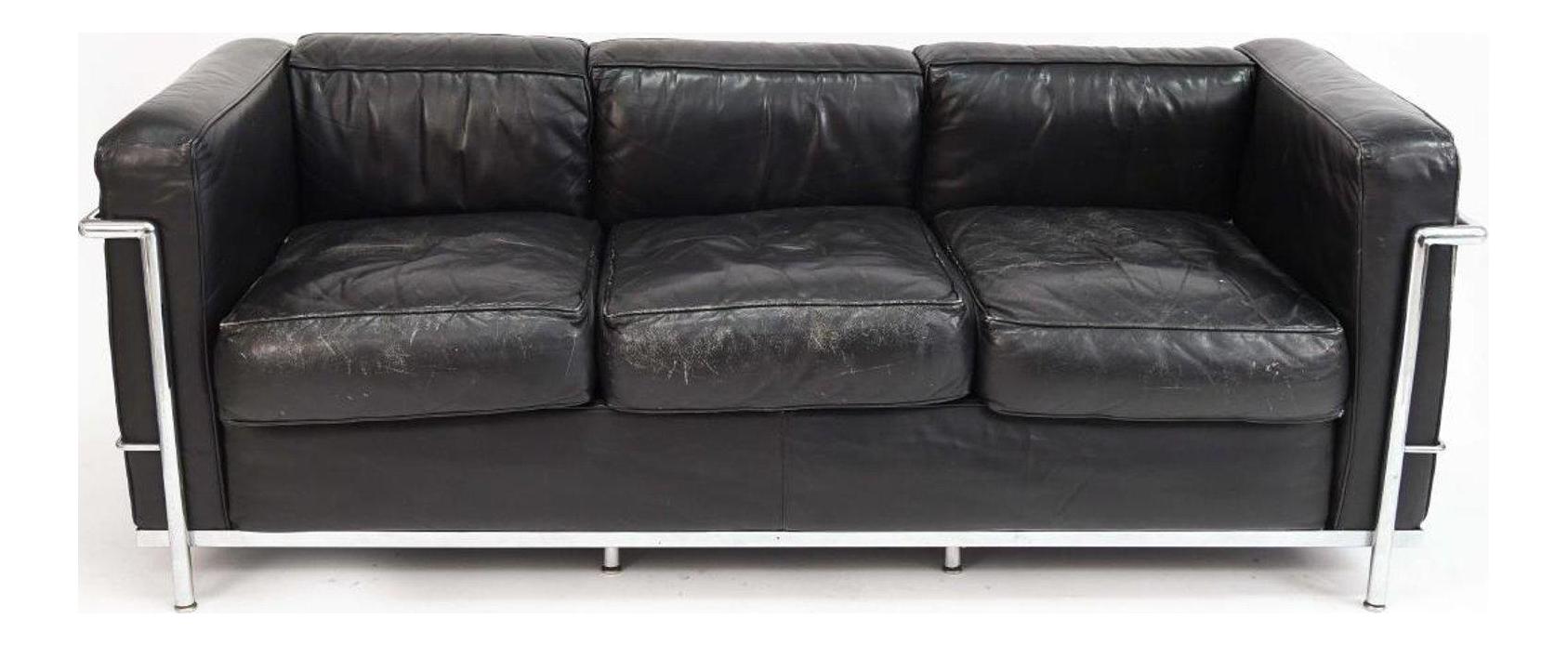 Le Corbusier LC2 Black Leather Sofa For Sale