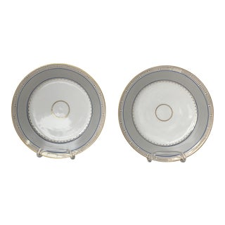 Grecian Key Classic Blue, Gray Plates - a Pair For Sale