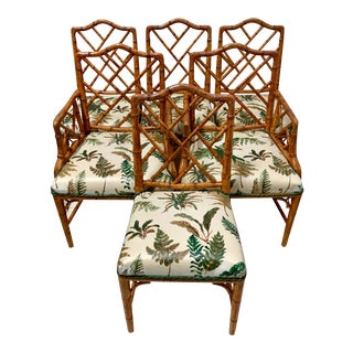 Set of 6 Chinese Chippendale Style Faux Bamboo Dining Chairs For Sale
