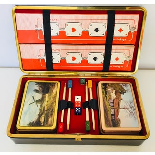 Vintage Playing Cards in Leather Box French Bridge - Set of 2 Decks Preview