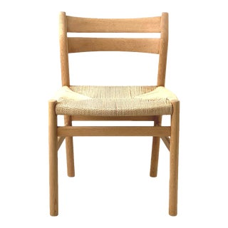 Vintage Danish Oak Rope Cord Dining Chair by Borge Mogensen For Sale